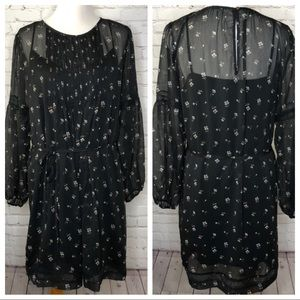 Abercrombie & Fitch Black Floral Boho Dress XL
